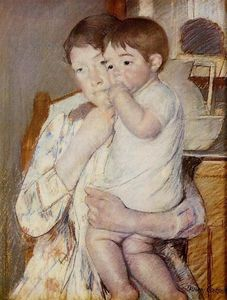 Mary Stevenson Cassatt - Baby in His Mother`s arms, sucking his finger