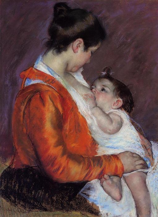 Louise Nursing Her Child, 1898 by Mary Stevenson Cassatt (1843-1926, United States) | Museum Quality Reproductions | WahooArt.com