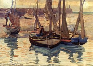 Maurice Brazil Prendergast - Small Fishing Boats, Treport, France
