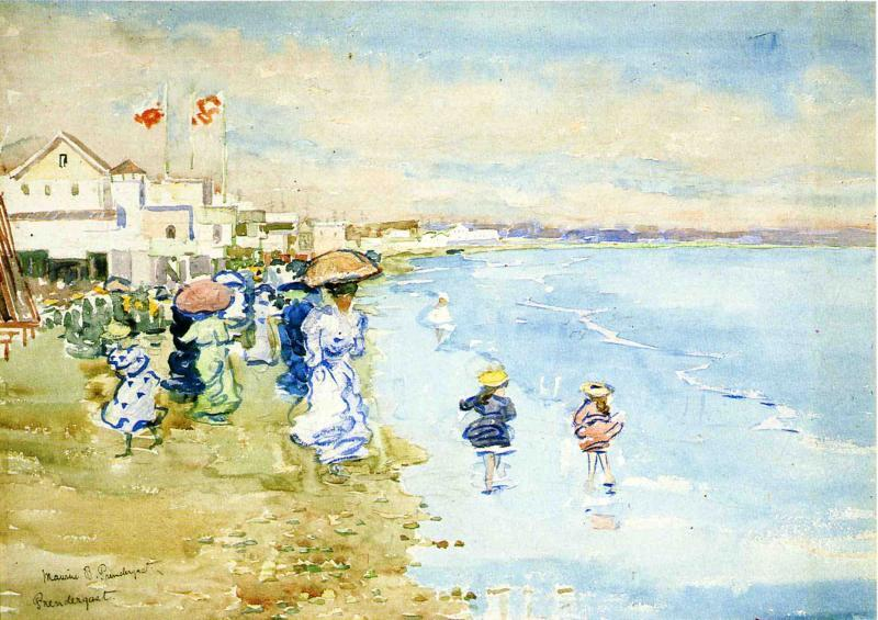 Revere Beach, Boston, 1897 by Maurice Brazil Prendergast (1858-1924, Canada) | Museum Art Reproductions Maurice Brazil Prendergast | WahooArt.com