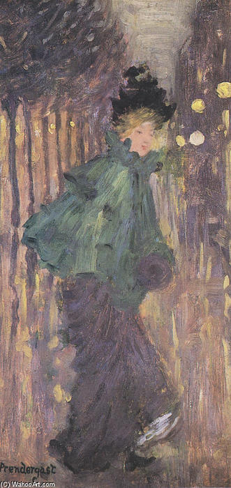 Order Art Reproductions | Lady on the Boulevard, 1892 by Maurice Brazil Prendergast (1858-1924, Canada) | WahooArt.com