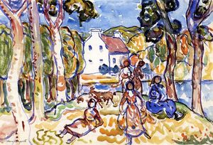 Maurice Brazil Prendergast - Landscape with Figures and Goat