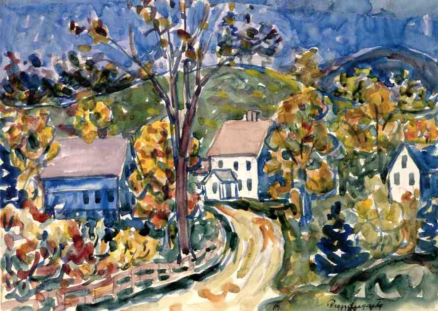 Buy Museum Art Reproductions | Country Road, New Hampshire, 1913 by Maurice Brazil Prendergast (1858-1924, Canada) | WahooArt.com