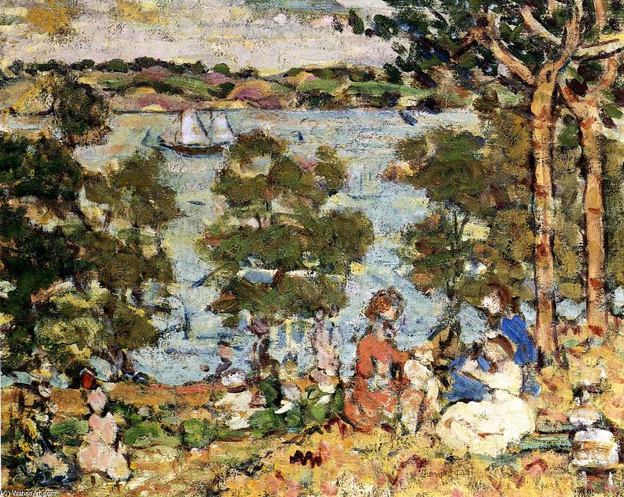 The Inlet, 1913 by Maurice Brazil Prendergast (1858-1924, Canada) | Paintings Reproductions Maurice Brazil Prendergast | WahooArt.com