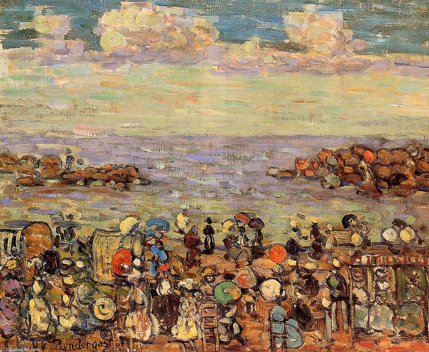 Beach at St. Malo, 1907 by Maurice Brazil Prendergast (1858-1924, Canada) | Paintings Reproductions Maurice Brazil Prendergast | WahooArt.com