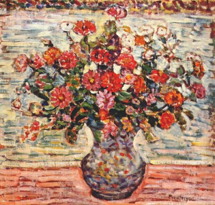 Order Reproductions | Flowers in a Vase, 1913 by Maurice Brazil Prendergast (1858-1924, Canada) | WahooArt.com