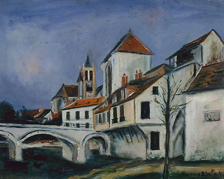 Bridge and Church by Maurice Utrillo (1883-1955, France) |  | WahooArt.com