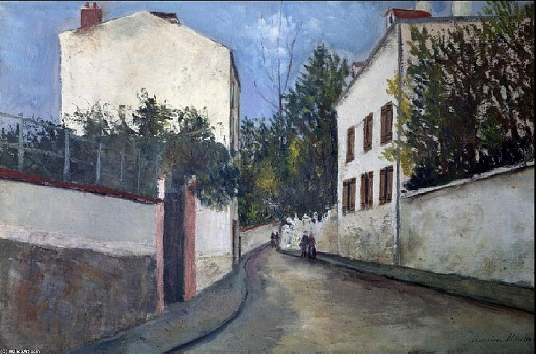 Street in Sannois by Maurice Utrillo (1883-1955, France) |  | WahooArt.com