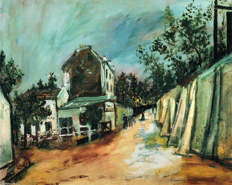 Saint-Vincent stree and the ``Lapin Agile`` by Maurice Utrillo (1883-1955, France) | Painting Copy | WahooArt.com