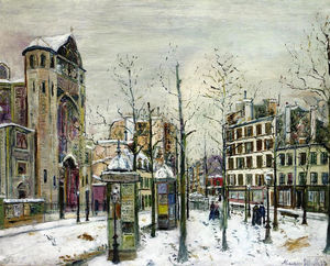 Maurice Utrillo - The squre Abbesses in the Snow