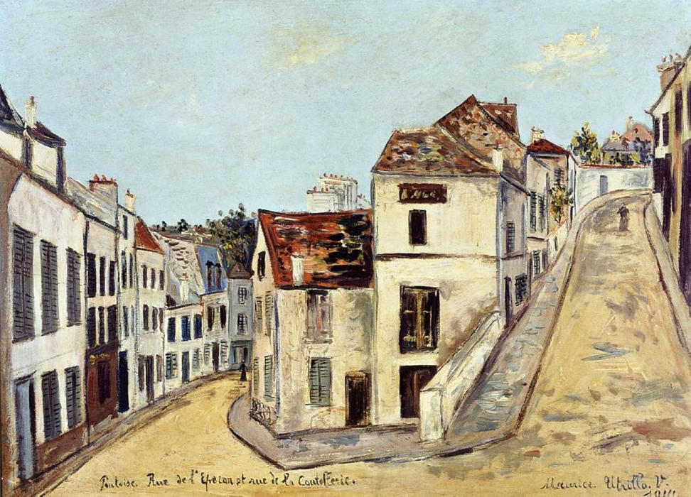 Pontoise, l'Eperon Street and Street de la Coutellerie, Oil On Panel by Maurice Utrillo (1883-1955, France)