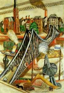 Max Beckmann - The Iron Bridge (View of Frankfurt) - (Famous paintings)