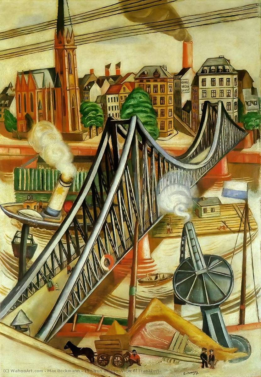 the iron bridge view of frankfurt oil on canvas by max beckmann 1884 1950 germany. Black Bedroom Furniture Sets. Home Design Ideas