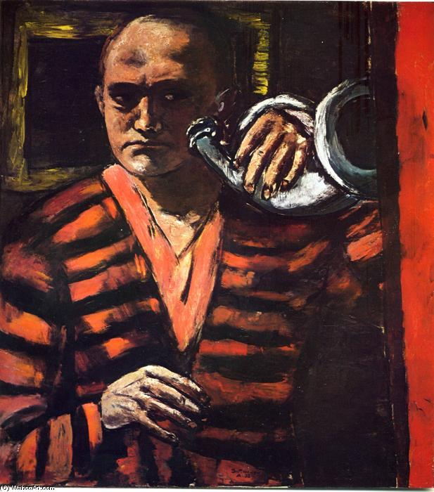 Self-Portrait with Trumpet, 1938 by Max Beckmann (1884-1950, Germany) | Museum Quality Reproductions | WahooArt.com