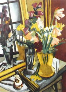 Max Beckmann - Floral still life with mirror