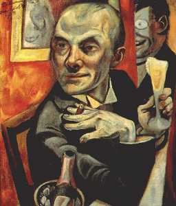 Max Beckmann - Self-portrait with champagne glass