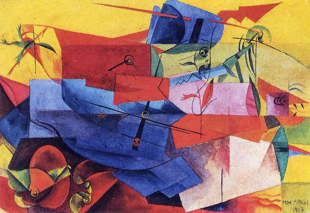 Fish fight, 1917 by Max Ernst (1891-1976, Germany) | WahooArt.com