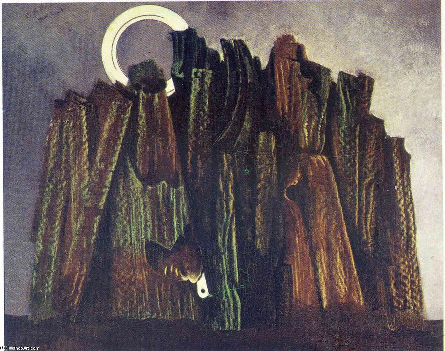 Dark forest and bird, Oil On Canvas by Max Ernst (1891-1976, Germany)