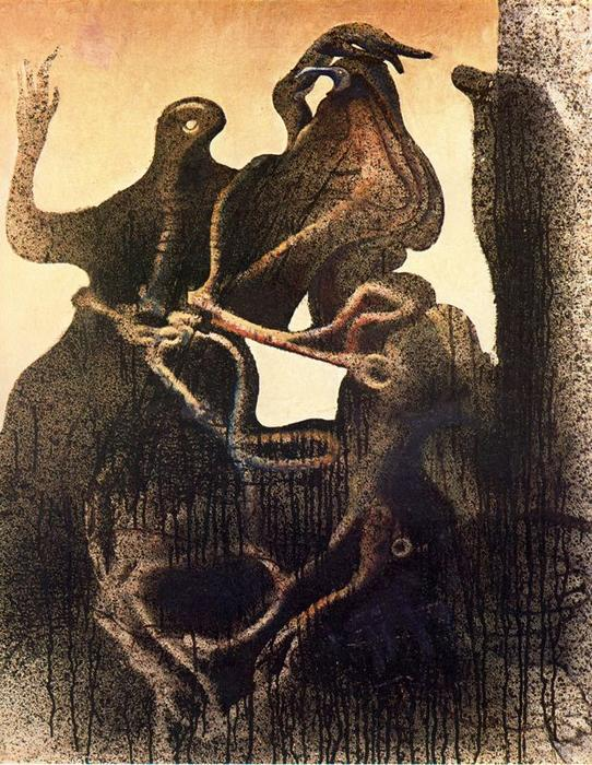 Birth of Zoomorph Couple, Oil On Canvas by Max Ernst (1891-1976, Germany)