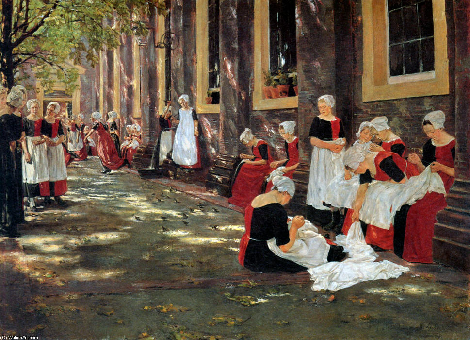 Free hour at Amsterdam orphanage, 1876 by Max Liebermann (1847-1935, Germany) | Paintings Reproductions Max Liebermann | WahooArt.com