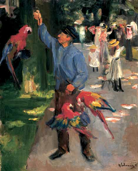 Man with parrots, Oil On Canvas by Max Liebermann (1847-1935, Germany)
