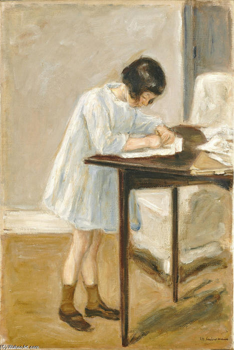 The Artist`s Granddaughter at the Table, 1923 by Max Liebermann (1847-1935, Germany) | Reproductions Max Liebermann | WahooArt.com
