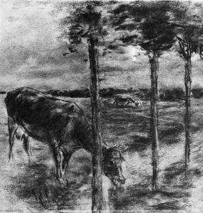 Max Liebermann - Drinking cow