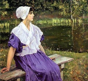 Mikhail Nesterov - Girl by a Pond (Portrait of Natalia Nesterova)