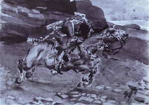 Mikhail Vrubel - Rider (''Is carried horse faster of fallow-deer...'')