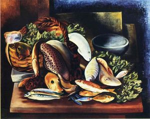 Moise Kisling - Still life with fish