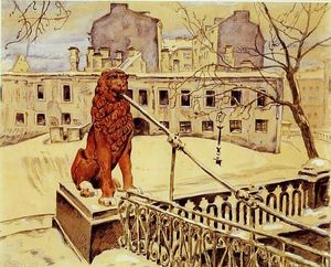 Mstislav Dobuzhinsky - The Lion Bridge in Petrograd