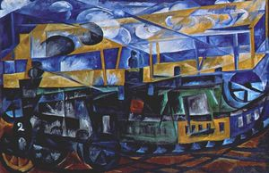 Natalia Sergeevna Goncharova - Airplane over train