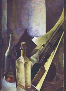 Nathan Altman - A Still Life. Coloured Bottles and Planes.