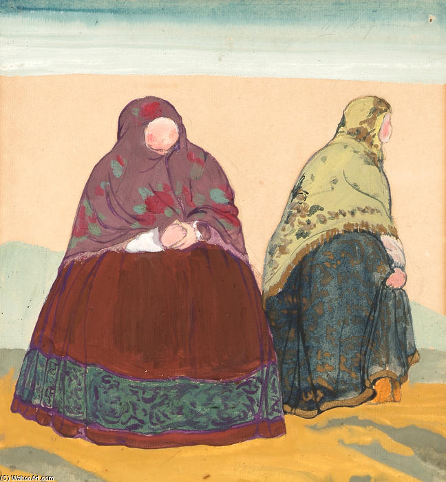 `Sketch of costumes for ``Tale of Tsar Saltan```, 1919 by Nicholas Roerich (1874-1947, Russia) | Paintings Reproductions Nicholas Roerich | WahooArt.com