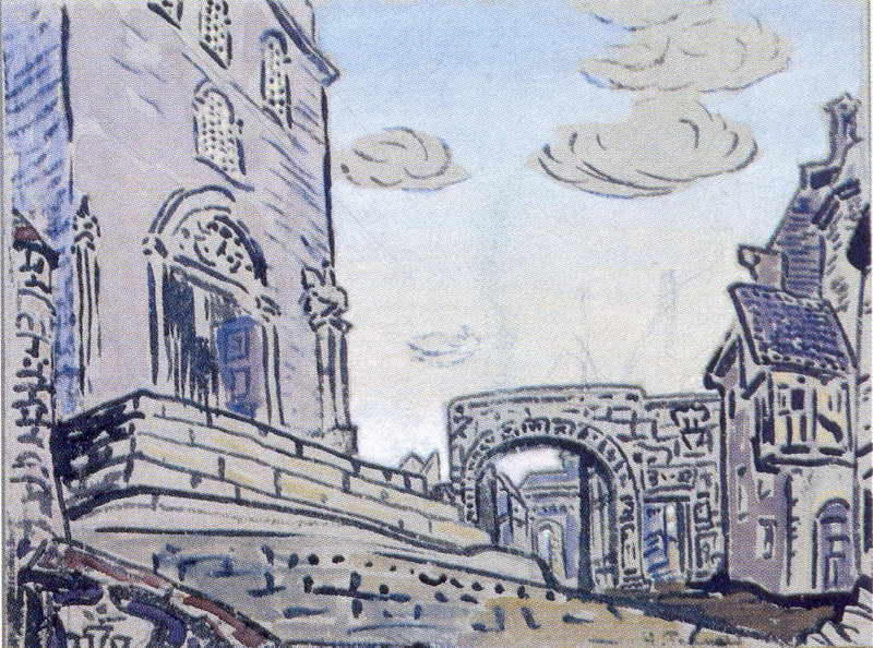 City, Pencil by Nicholas Roerich (1874-1947, Russia)