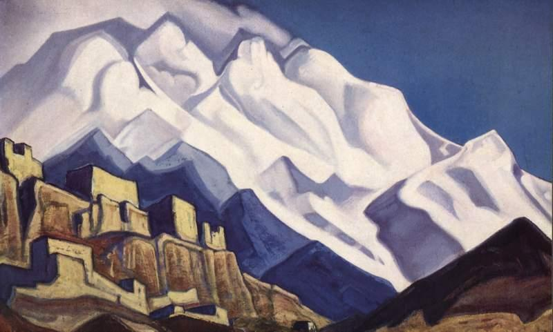 Tibet. Monastery in the mountains. (Rakaposhi), 1940 by Nicholas Roerich (1874-1947, Russia) | Paintings Reproductions Nicholas Roerich | WahooArt.com