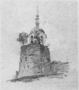 Nicholas Roerich - Porhov. Belfry on fortress tower.