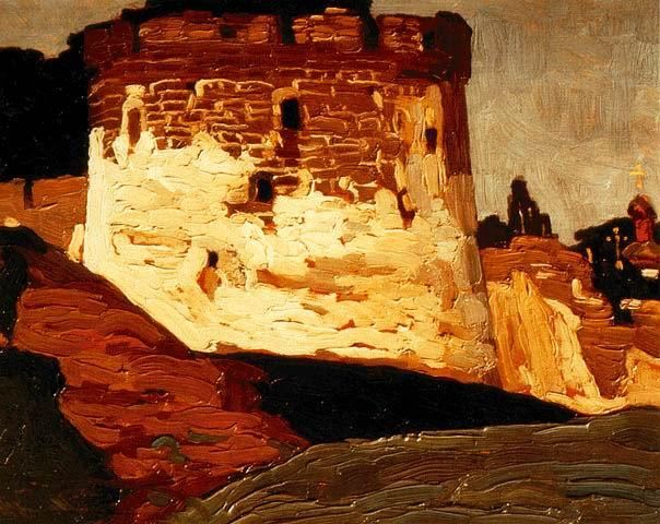 Pechora. Monastery walls and towers., 1903 by Nicholas Roerich (1874-1947, Russia) | Reproductions Nicholas Roerich | WahooArt.com