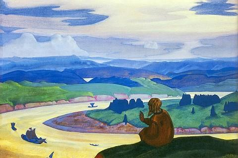 Procopius the Righteous Praying, 1914 by Nicholas Roerich (1874-1947, Russia) | Art Reproductions Nicholas Roerich | WahooArt.com