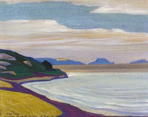 Nicholas Roerich - Grand vista over a coastal landscape