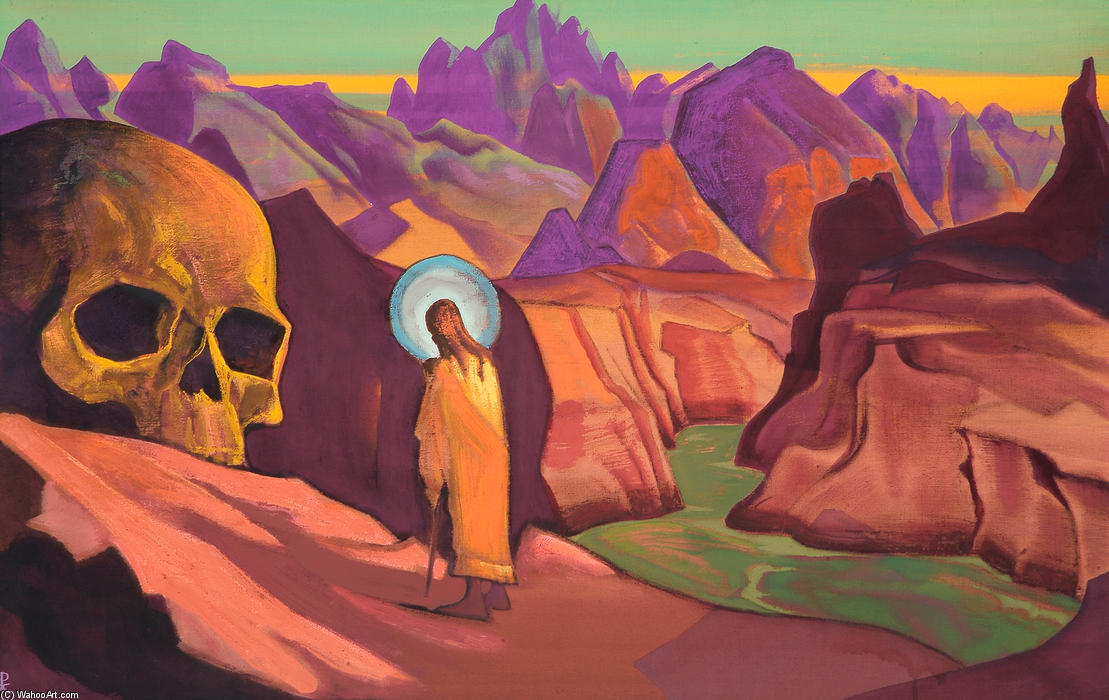Issa and giant`s head, 1932 by Nicholas Roerich (1874-1947, Russia) | Reproductions Nicholas Roerich | WahooArt.com