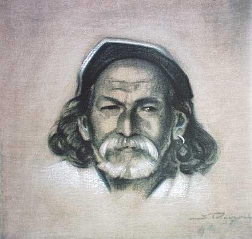 Lahor (Blacksmith) from Kulu, 1937 by Nicholas Roerich (1874-1947, Russia) | Reproductions Nicholas Roerich | WahooArt.com