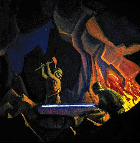 Forging the sword (Nibelung), 1941 by Nicholas Roerich (1874-1947, Russia) | Museum Quality Copies Nicholas Roerich | WahooArt.com