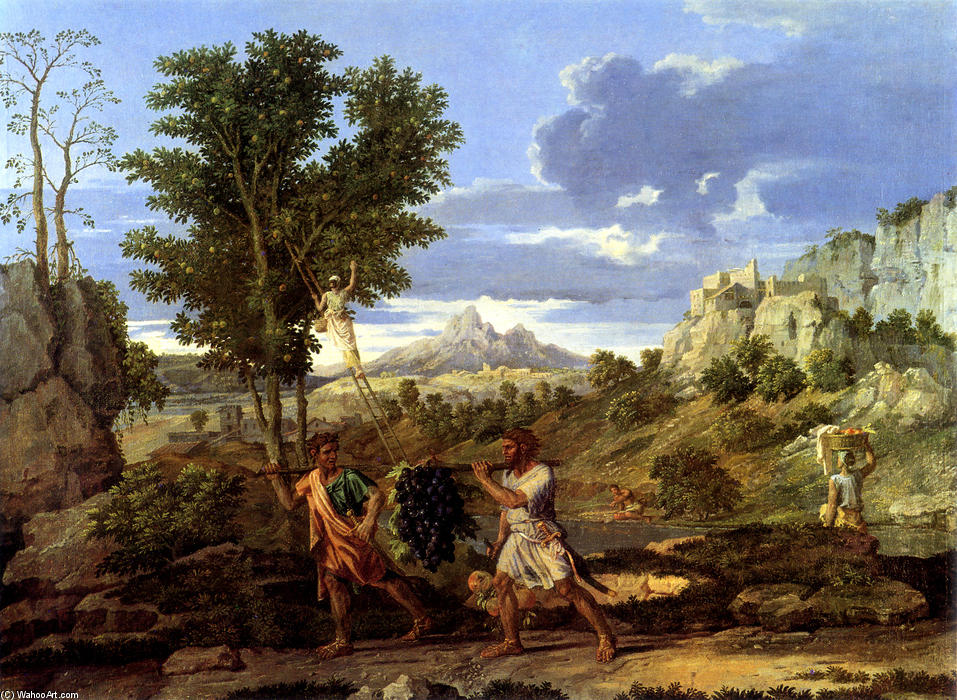 Autumn (The Spies with the Grapes of the Promised Land), Oil On Canvas by Nicolas Poussin (1594-1665, France)