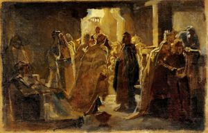 Nikolai Ge - Christ in the synagogue