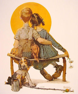 Norman Rockwell - Boy and Girl gazing at the Moon