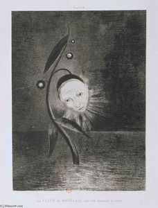 Odilon Redon - Flower of the swamp, a head human and sad