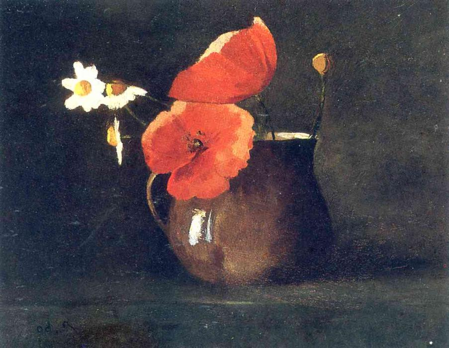 Order Reproductions | Flowers in green vase, 1868 by Odilon Redon (1840-1916, France) | WahooArt.com