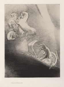 Odilon Redon - He falls, head-first, into the abyss (plate 17)