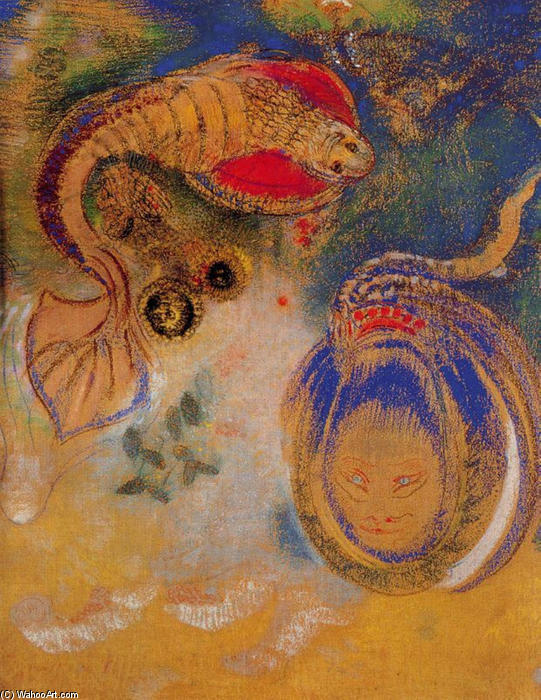 Animals of the Bottom of the Sea by Odilon Redon (1840-1916, France) | Museum Quality Reproductions | WahooArt.com